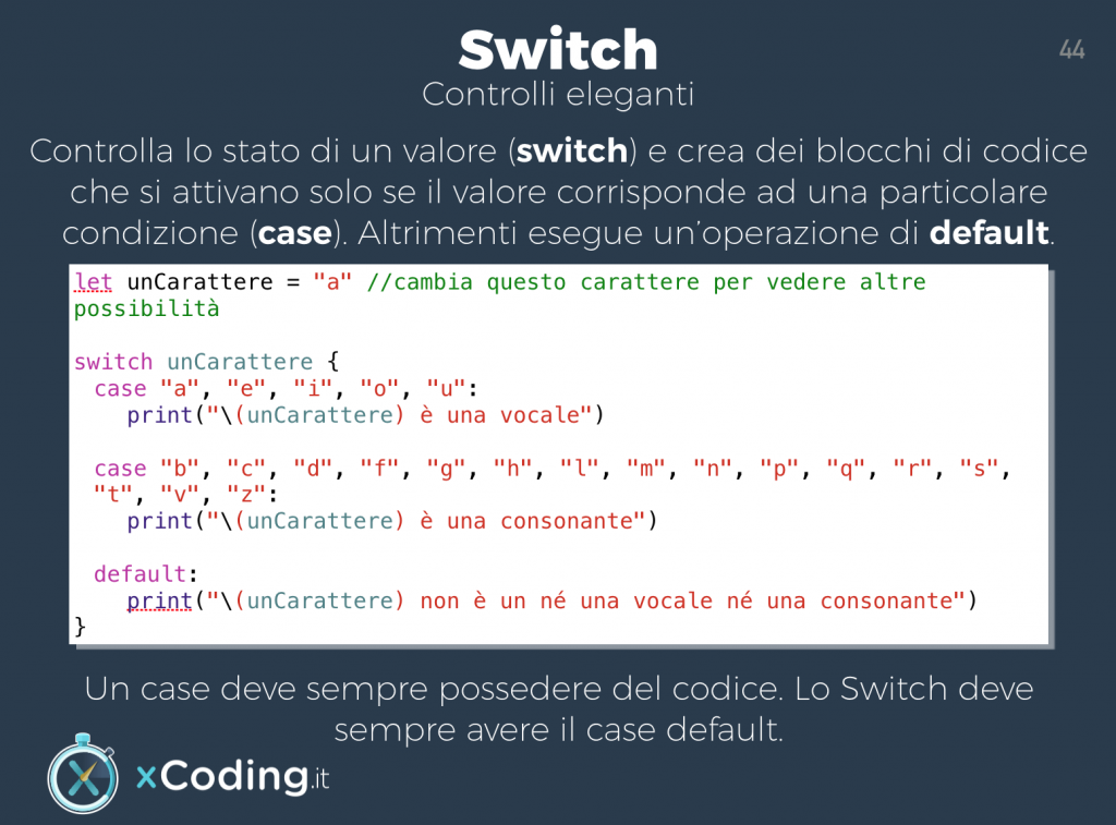 Switch con il linguaggio swift