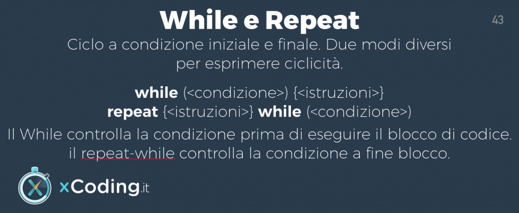 While e Repeat linguaggio swift