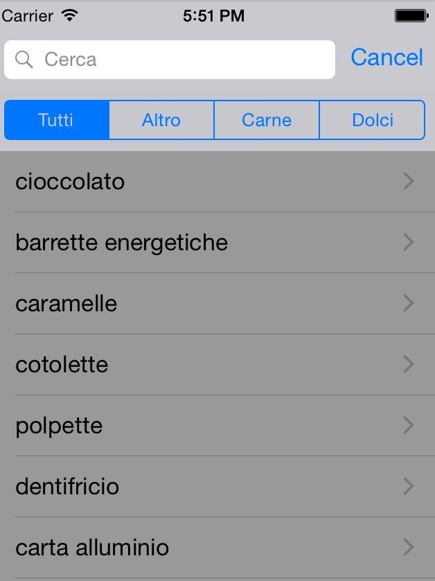 App lista in Swift e Xcode con Table View e Search Bar