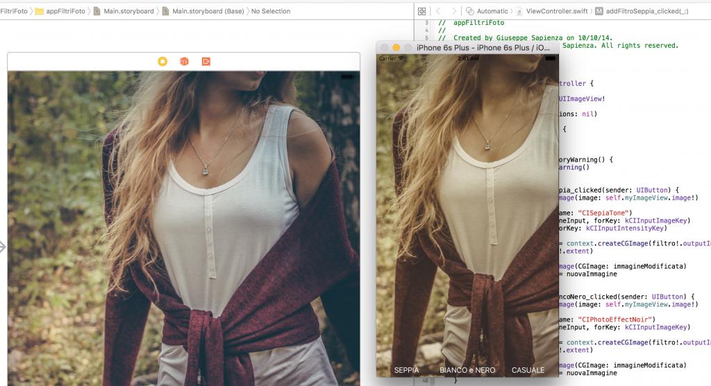 Filtro seppia Core Image e Swift