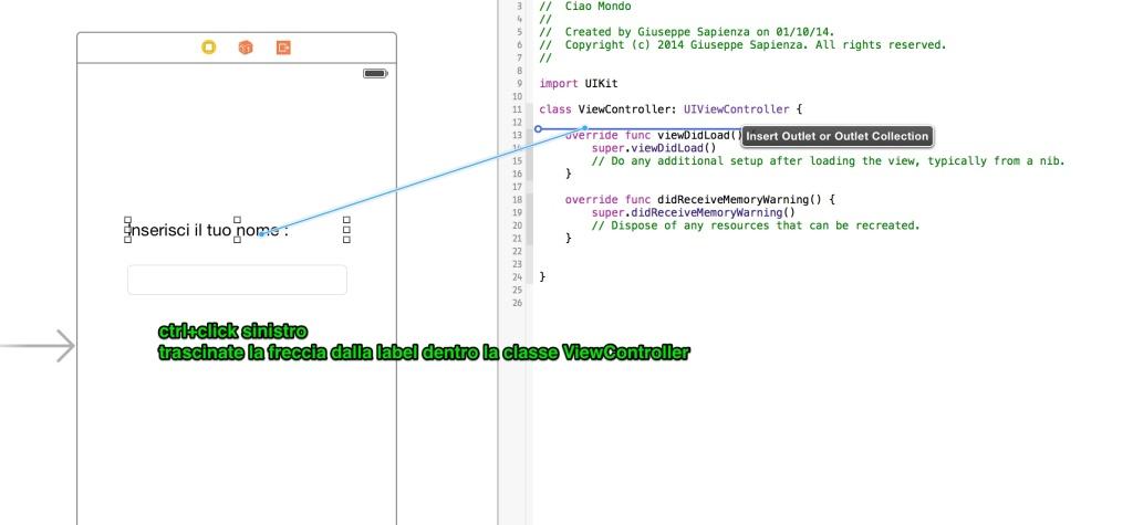 collegare un elemento della storyboard al codice xCode 6