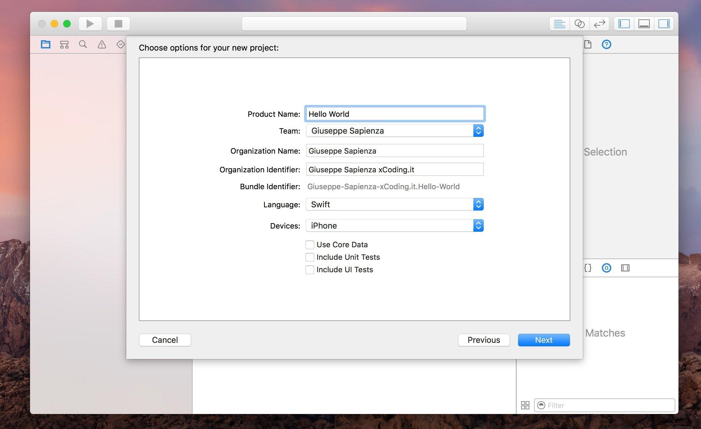 opzioni template xcode
