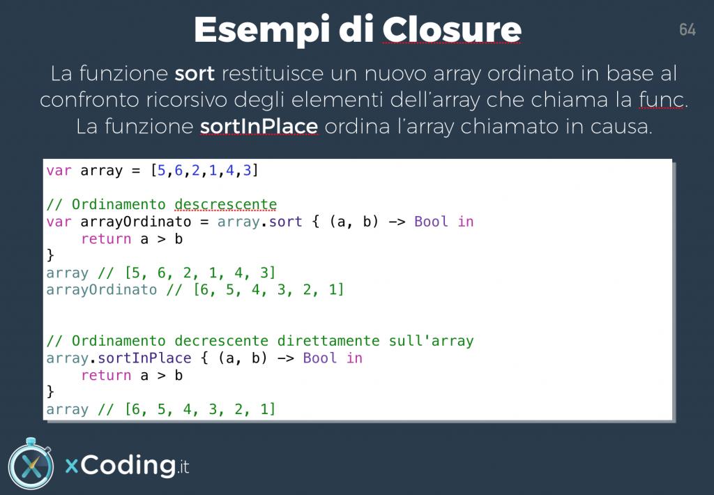 Esempio Closure in Swift funzione sort