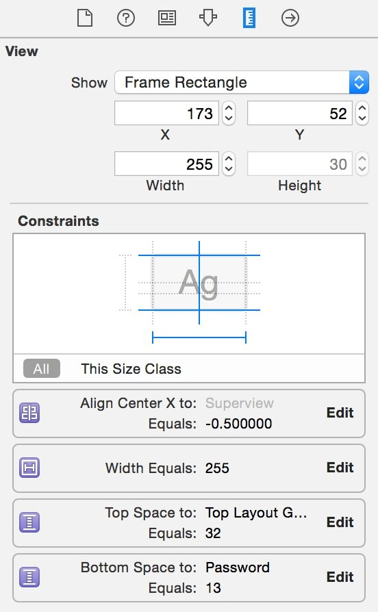 Size Inspector xcode 6