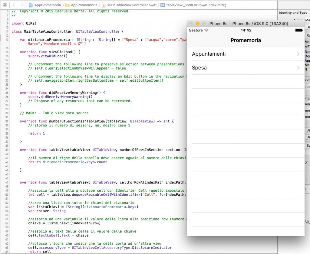 applicazione promemoria con il linguaggio Swift