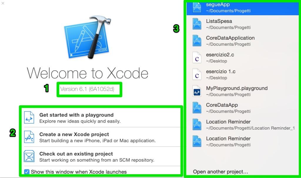interfaccia di lancio xcode