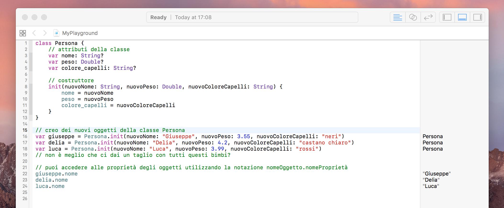 programmazione ad oggetti linguaggio swift