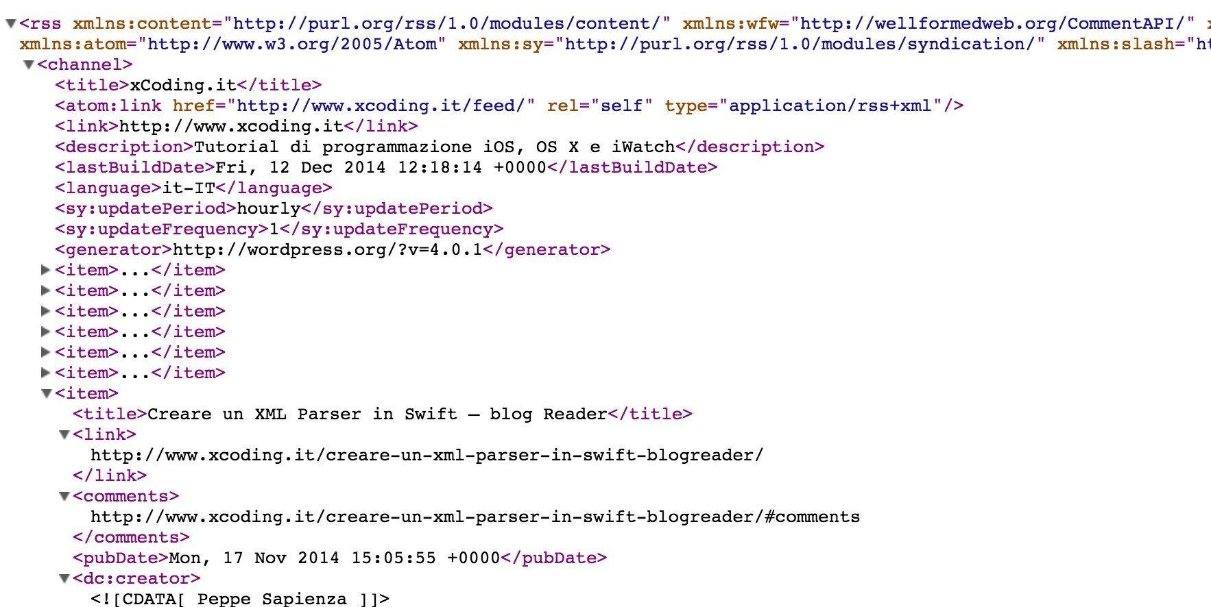 struttura XML di un Feed RSS