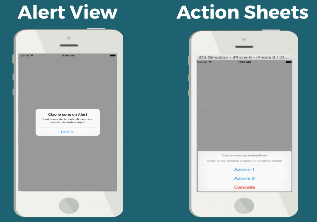 Alert View e Action Sheets con il linguaggio Swift