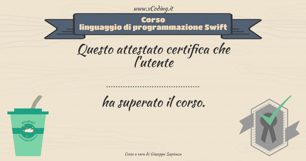 attestato corso linguaggio di programmazione Swift xCoding_IT