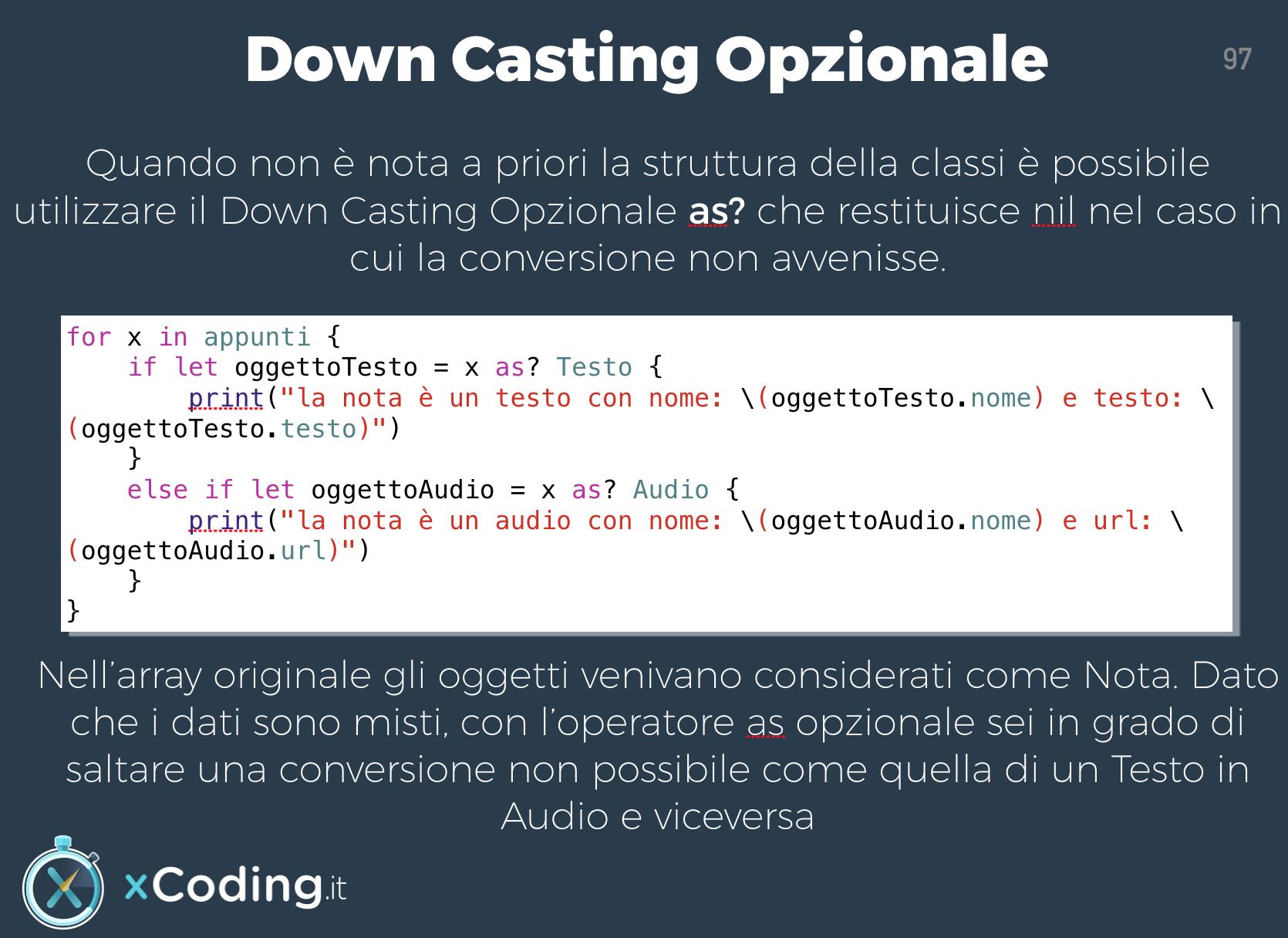 Down casting opzionale linguaggio swift