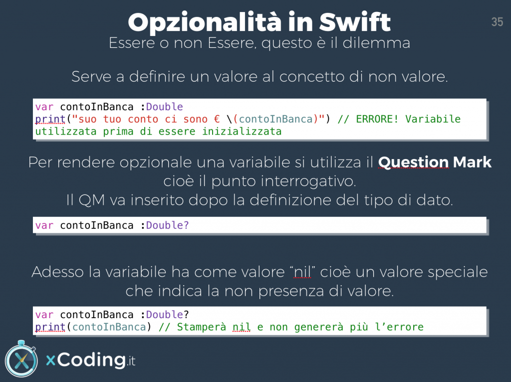 Opzionalità in Swift. Il question mark