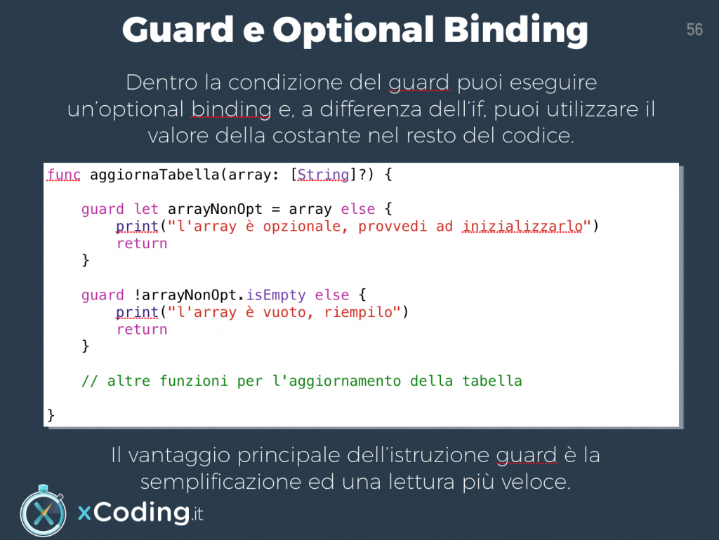 optional binding istruzione guard in swift