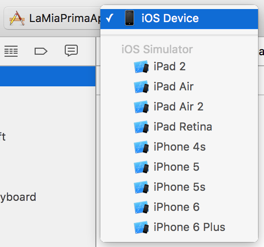 Scheme e selezione del dispositivo in cui testare l'app