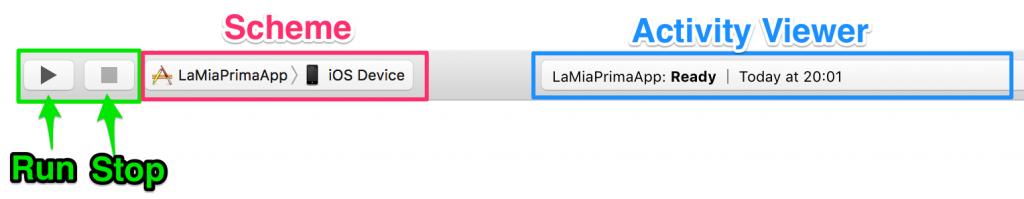 bottoni lato sinistro toolbar interfaccia xcode
