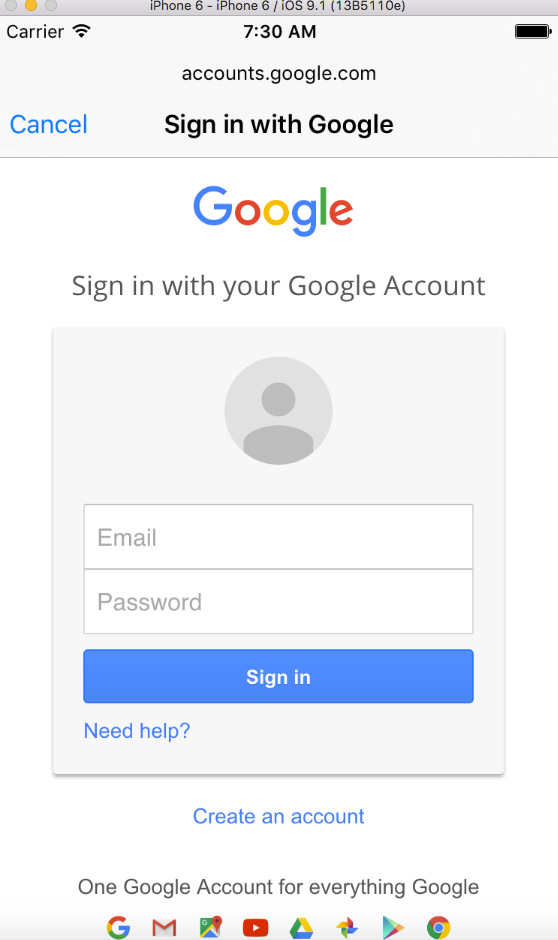 Google Social Sign In con il linguaggio Swift