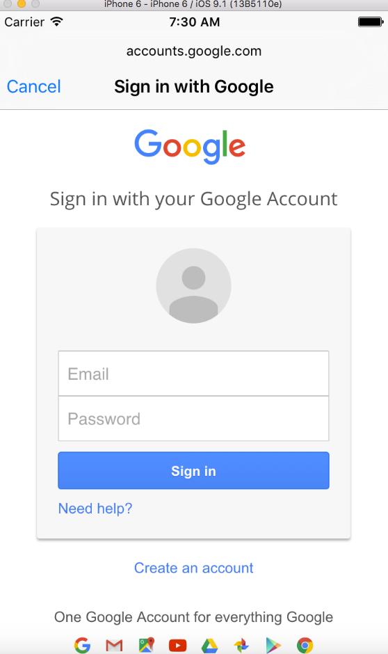 Google Social Sign In con il linguaggio Swift