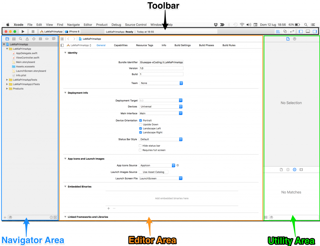interfaccia Xcode. Le aree di lavoro