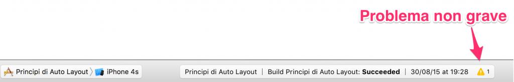 Xcode segnale problema non grave