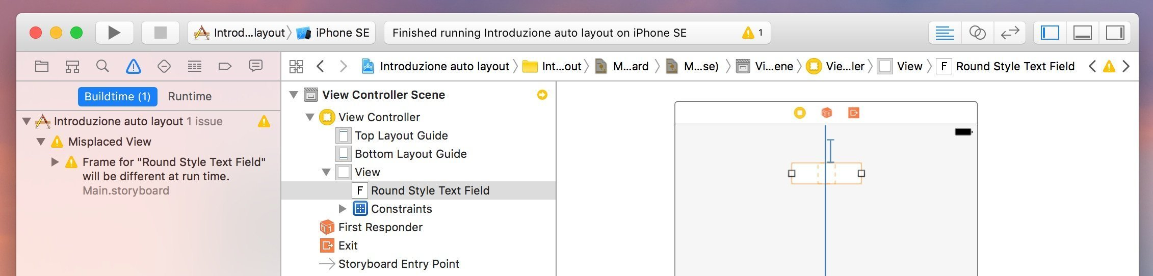 problema-frame-will-be-different-at-run-time-xcode-e-auto-layout