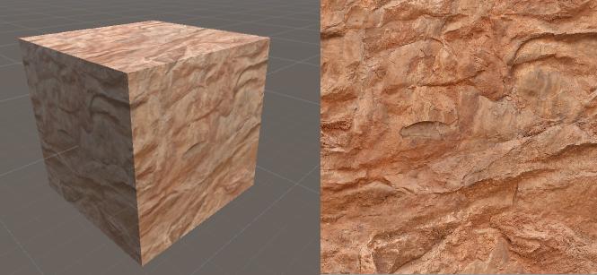 Una bella texture (a destra) applicata ad un semplice cubo (a sinistra)