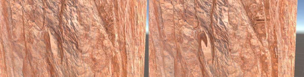 A sinistra il nostro materiale ha una heightmap con valore 0.02, a destra invece ha valore 0.08. La superficie della roccia appare distorta!