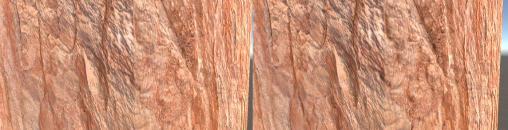 Ancora la nostra fantastica roccia: senza occlusion map (a sinistra) e con (a destra)