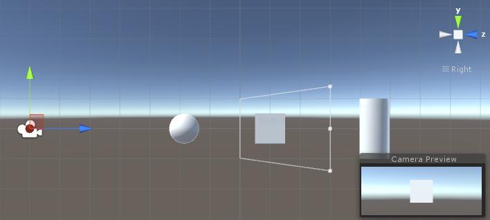 """La sfera si trovaprima del valore """"Near"""", mentreil cilindo si trova dopo il valore """"Far"""": di cnseguenza, il cubo è l'unico oggetto inquadrato dalla telecamera!"""