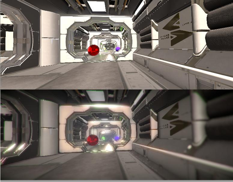 La stessa scena senza effetti (sopra) e con qualche piccolo effetto (sotto).