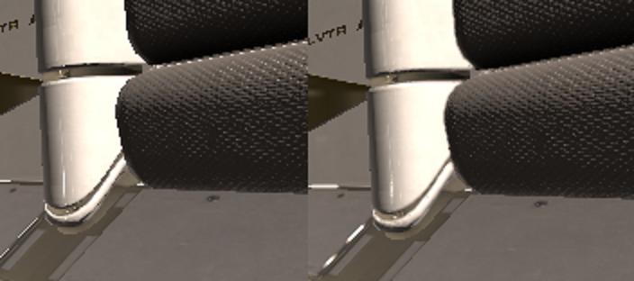 Stesso dettagli della scena senza antialiasing (a sinistra) e con un filtro antialiasing (a destra).
