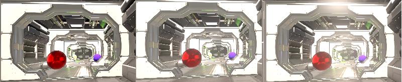 Stessa scena semplice, con effetto bloom e con bloom ed HDR