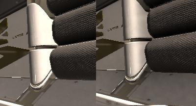 Un angolo della scena a cui viene applicato il filtro SSAO.