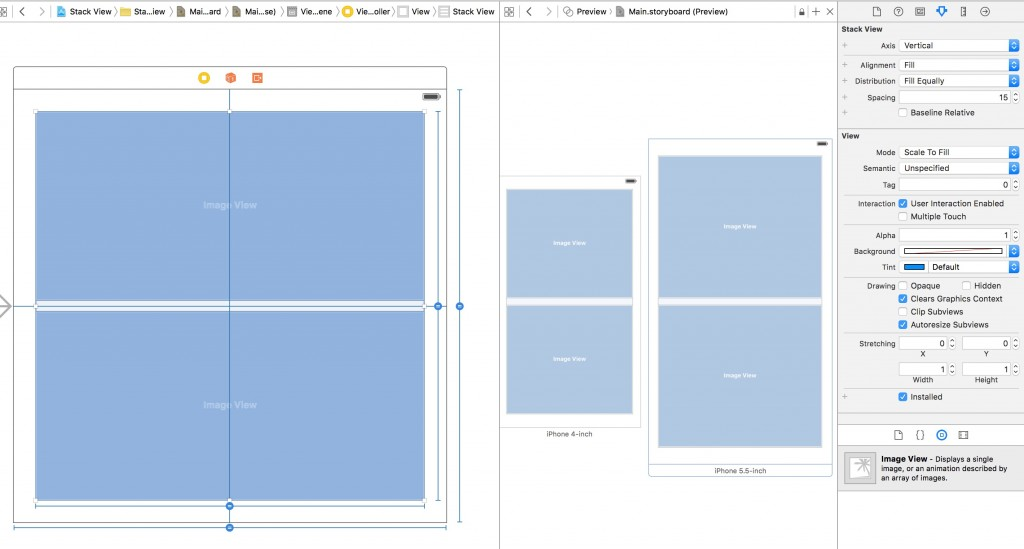 Stack View in Xcode Distribution Fill Equally