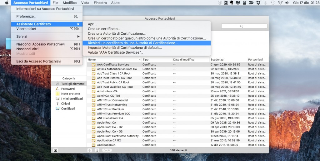 Certificato Apple per notifiche