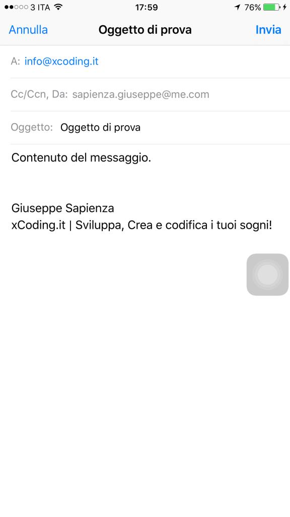 MFMailCoposeViewController e inviare email con linguaggio swift