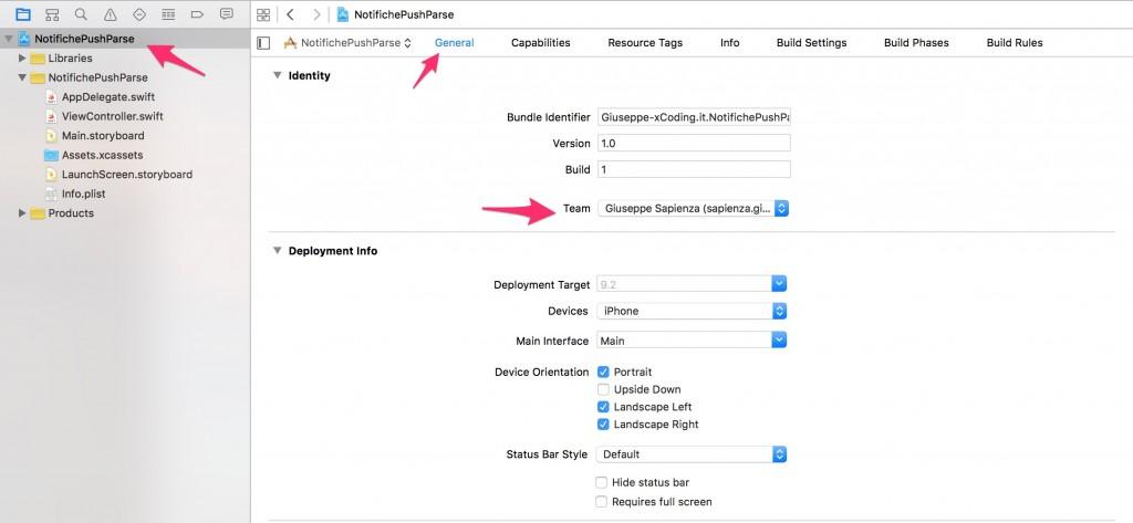 Provisioning profile associazione Xcode progetto