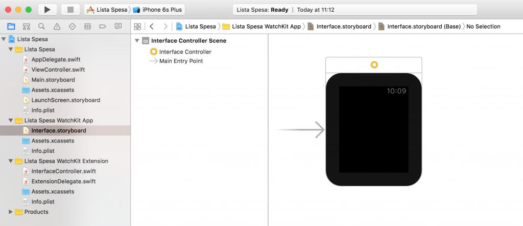 Anatomia di un progetto WatchKit con linguaggio swift