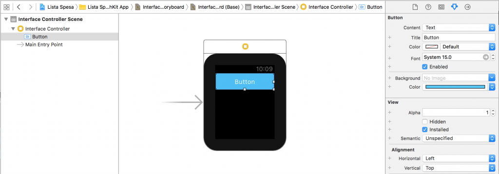 Button per watchOS app