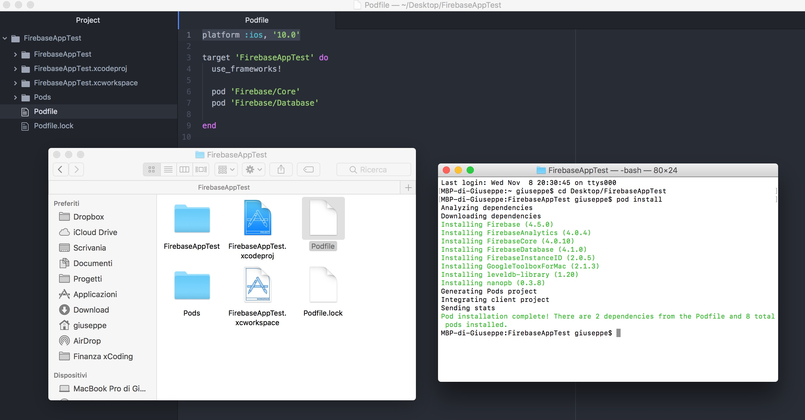 cocoa pods e firebase xcode ios swift