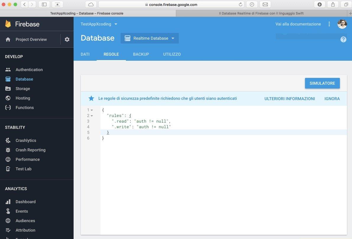regole utilizzo database realtime firebase