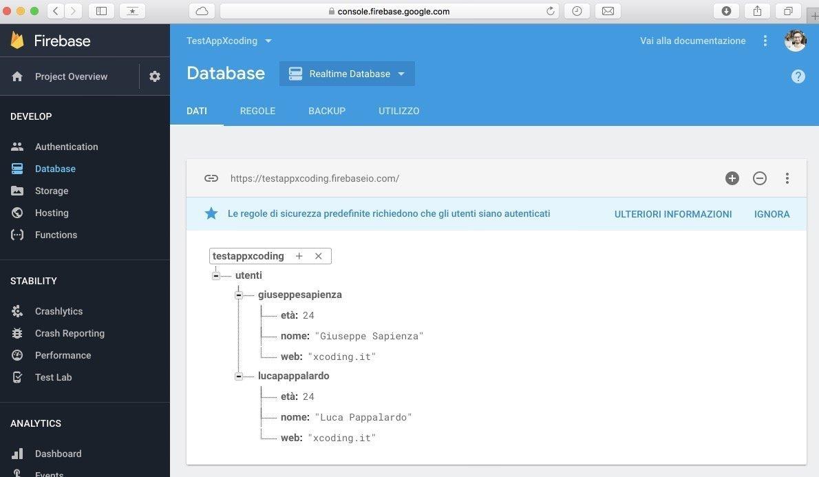 struttura esempio utenti database realtime firebase