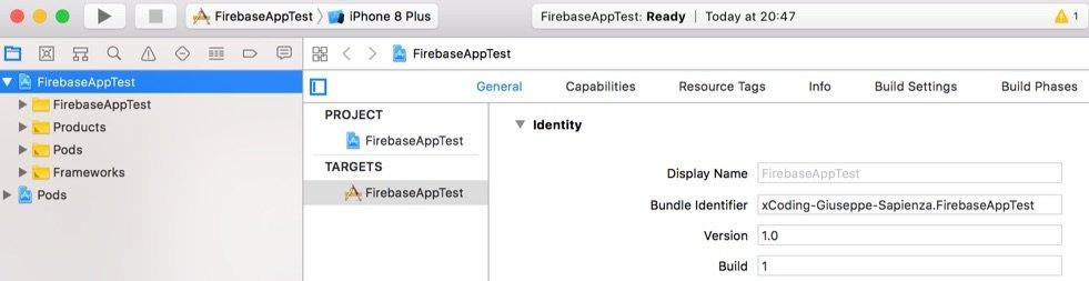 struttura progetto xcode con firebase ios