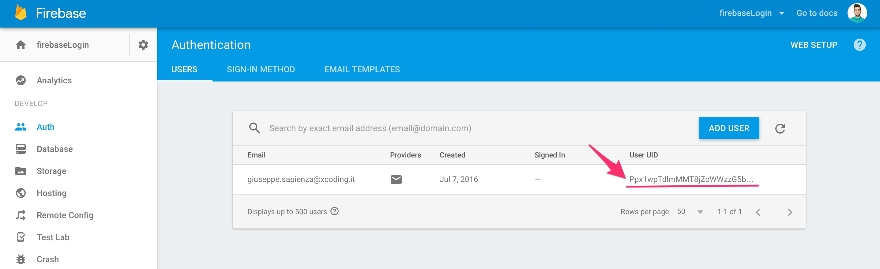 User UUID Firebase autenticazione