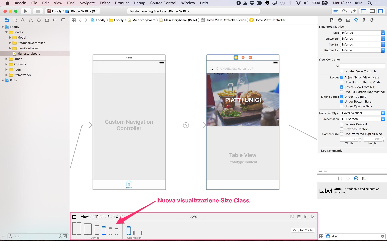 nuova visualizzazione size class xcode 8