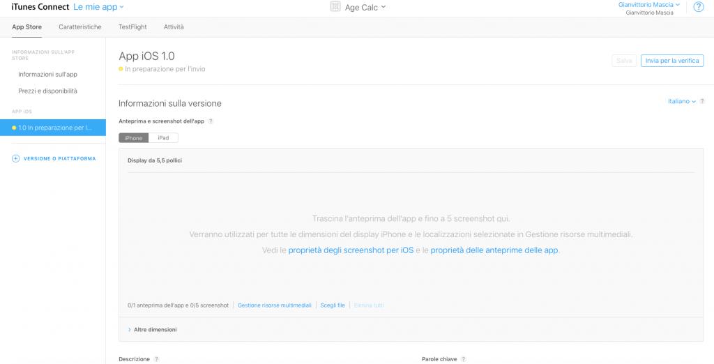 iOS in preparazione