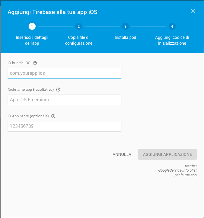 AdMob: progetto Firebase iOS