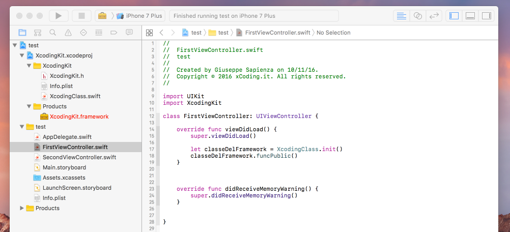 utilizzo-framework-custom-xcode