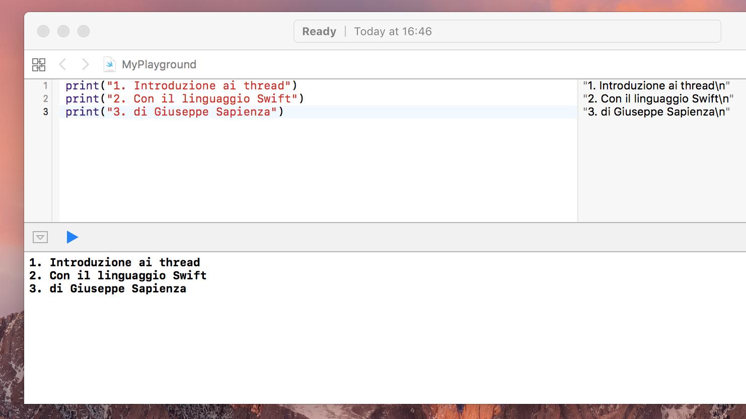 esecuzione lineare del codice swift
