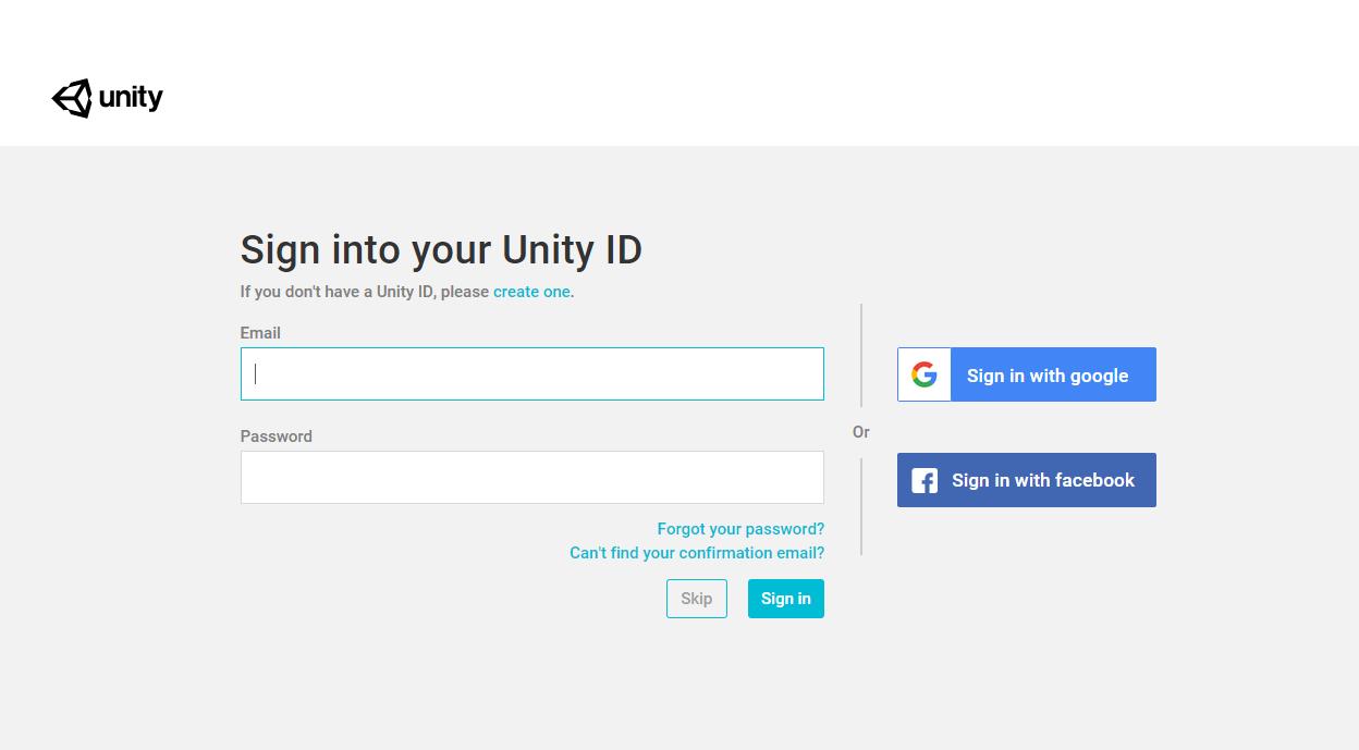 come installare Unity