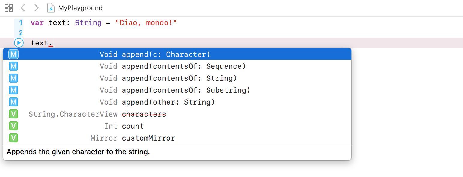 Accedere ai metodi e proprietà dei tipi di dato linguaggio swift